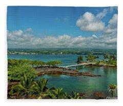 A Beautiful Day Over Hilo Bay Fleece Blanket