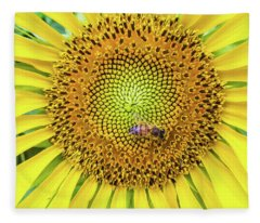 A Bee On A Sunflower Fleece Blanket