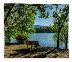 A Bench Overlooking Vasona Lake Fleece Blanket