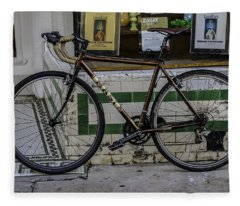 A Bicycle In The French Quarter, New Orleans, Louisiana Fleece Blanket