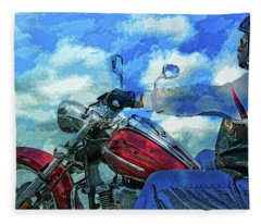 A Bikers Euphoric Journey Fleece Blanket