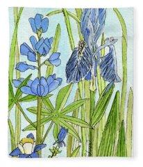 A Blue Garden Fleece Blanket