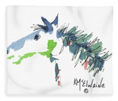 A Blue Roan Horse Watercolor Painting By Kmcelwaine Fleece Blanket