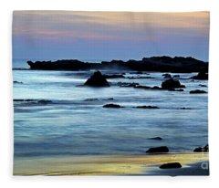 A Blue Sunset At Tantura Beach 02 Fleece Blanket