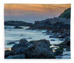 A Blue Sunset At Tantura Beach Fleece Blanket