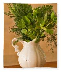 A Bouquet Of Fresh Herbs In A Tiny Jug Fleece Blanket