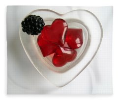 A Bowl Of Hearts And A Blackberry Fleece Blanket