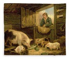 A Boy Looking Into A Pig Sty Fleece Blanket