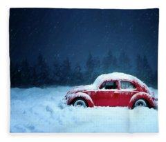 A Bug In The Snow Fleece Blanket