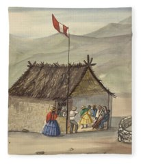 A Cane Rancho Or Hut Erected For The Purpose Of Dancing Lima Costumes, Ca. 1853 ,fierro, Pancho,  Fleece Blanket