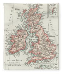 A Cartographic Map Of The British Isles. Published In 1900 Fleece Blanket