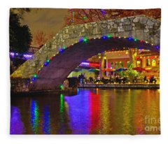 A Casa Rio Christmas On The Riverwalk Fleece Blanket