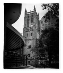 A Charlotte Church Tower In Black And White Fleece Blanket