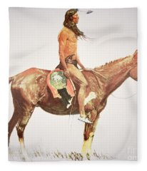 A Cheyenne Brave Fleece Blanket