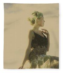 A Classical Beauty Portrait Fleece Blanket