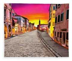 A Cobblestone Street In Venice Fleece Blanket