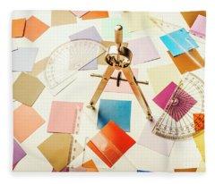 A Colourful Blueprint Fleece Blanket