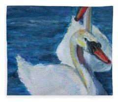 A Couple Of Swans Fleece Blanket