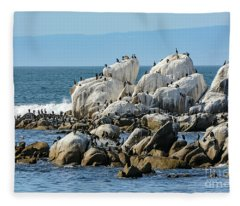 A Crowded Bird Rock Fleece Blanket