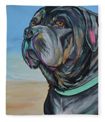 A Day At The Beach With Max Fleece Blanket
