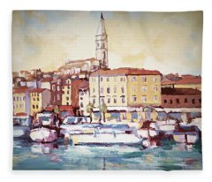 A Day In Old Town Rovinj Fleece Blanket