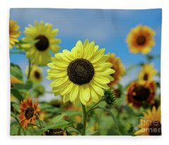 A Day With Sunflowers Fleece Blanket