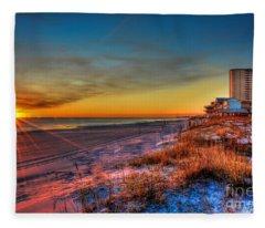 A December Beach Sunset Fleece Blanket