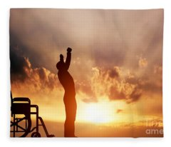 A Disabled Man Standing Up From Wheelchair Fleece Blanket