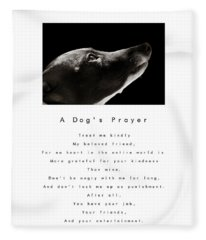 A Dog's Prayer In White  A Popular Inspirational Portrait And Poem Featuring An Italian Greyhound Fleece Blanket
