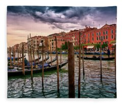 Vintage Buildings And Dramatic Sky, A Dreamlike Seascape In Venice Fleece Blanket