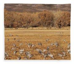 A Field Of Cranes Fleece Blanket