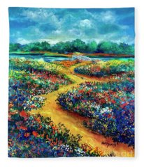 A Field Of Flowers And The Bridge Beyond Fleece Blanket