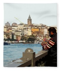 A Fisherman In Istanbul Fleece Blanket