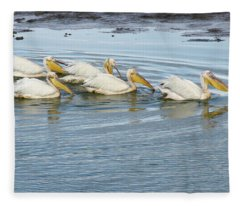 A Flotilla Of Pelicans Fleece Blanket