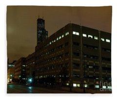 A Foggy Chicago Night Fleece Blanket