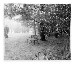 A Foggy Spring Morning In Black And White Fleece Blanket