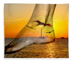 A Foot In The Sunset Fleece Blanket