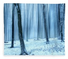 A Forest In Winter Fleece Blanket