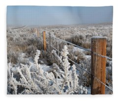 A Frosty And Foggy Morning On The Way To Steamboat Springs Fleece Blanket