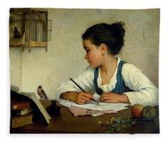 A Girl Writing. The Pet Goldfinch Fleece Blanket