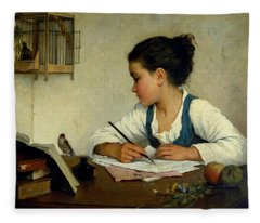 A Girl Writing. The Pet Goldfinch Fleece Blanket