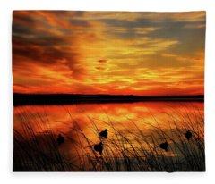 A Golden Sunrise Duck Hunt Fleece Blanket