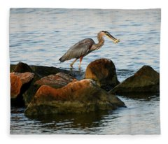 A Great Blue Heron Day Fleece Blanket
