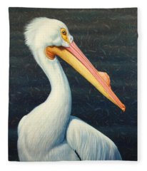 A Great White American Pelican Fleece Blanket