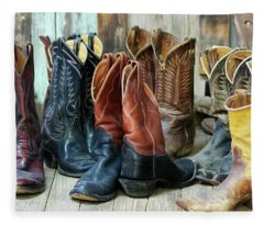 A Group Of Ten Pairs Of Old Cowboy Boots Fleece Blanket