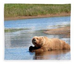 A Hot Day In The Hallo Bay Katmai National Park Preserve Fleece Blanket