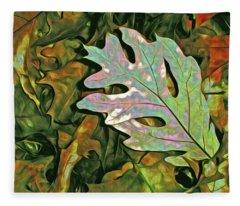 A Leaf On The Pile Fleece Blanket