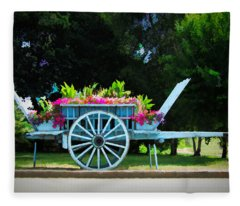 A Little Flower Wagon - Normandy, France Fleece Blanket