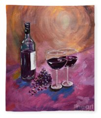 A Little Wine On My Canvas - Wine - Grapes Fleece Blanket