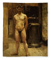 A Male Model Standing Before A Stove John Singer Sargent Fleece Blanket